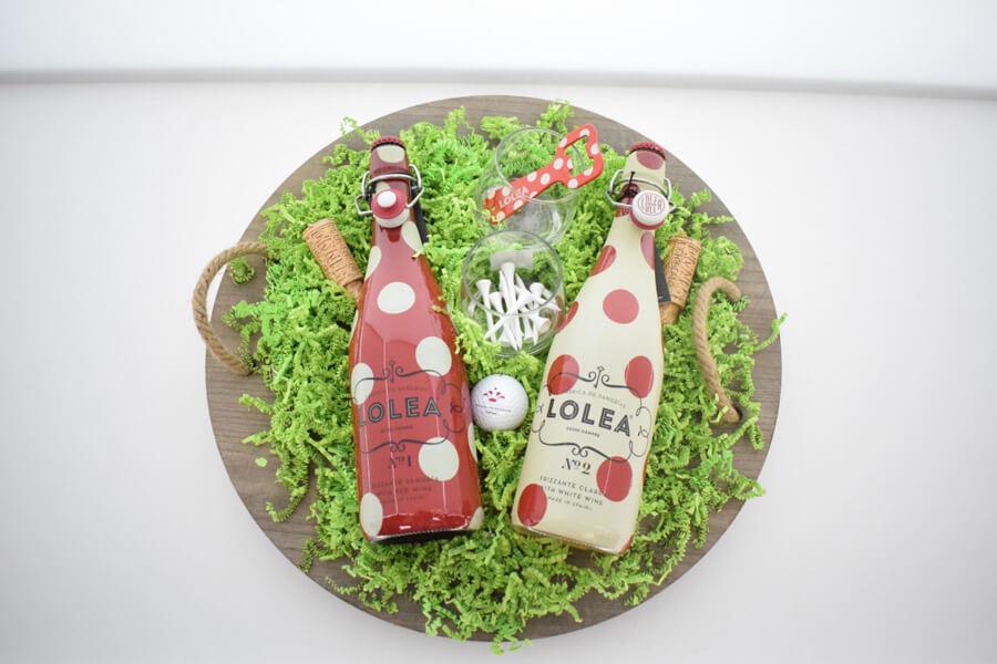 golf geschenken houten schaal